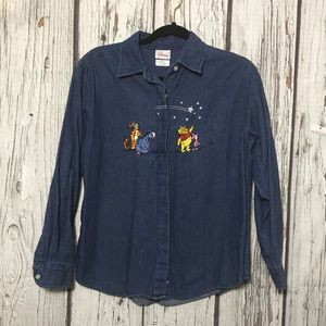 Pooh Piglet Eeyore Long Sleeve Embroidered T136